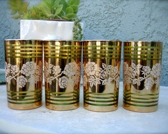 Shabby Vintage Gold & green glass tumblers with rose motif design, gold drinking glasses, barware glasses,   gold vases, shabby dishware