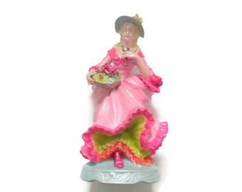 Bright Pink Painted Lady with tiny Army Man - Home Decor  - Fancy Figurine
