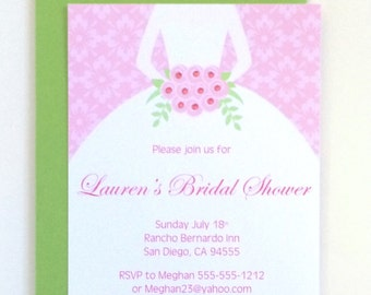 Wedding Dress Bridal Shower Invitation, Wedding Shower Invitation, Bride-to-be, Pink Floral Bouquet, Bridal Gown Invitation