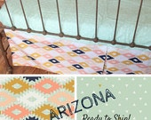 Crib Bedding- Crib Sheet and Crib Skirt -Baby Bedding-  READY TO SHIP- crib skirt and sheet in Southwestern Fabric, Arizona, tribal