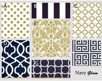 Crib Bedding- Design Your Own Bedding- Dorm Bedding- Navy Glam- navy, metallic gold