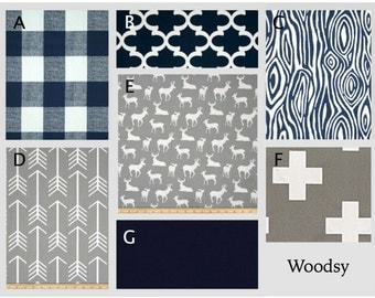 Crib Bedding- Design Your Own Bedding- Duvet Cover- Dorm Bedding- Glider Cushions- Boy Bedding- Woodsy- Navy and Gray