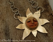 Shining sun necklace,mixed metal, gold and sterling silver,hand fabricated sun,handmade clay face cabochon,unique artisan metalsmith jewelry