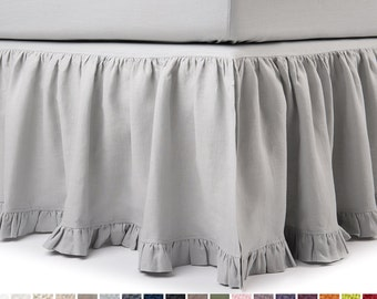 Linen bedskirt Queen King Twin Full or double size bed skirt with ruffle Custom drop and color natural pure linen bedskirts