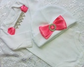 Infant Baby Girl Pink and white Bodysuit Take me home outfit with matching Hat