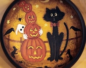Folk Art Halloween Primitive Wood Bowl -MADE TO ORDER- Hand Painted - Nervous Black Cats Watches as Tower of Pumpkins Topples, Ghost, Mice