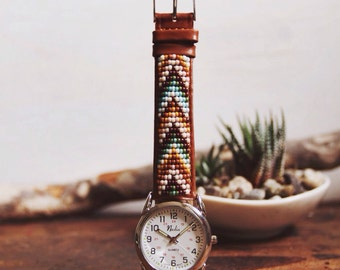 BWLW-04,Native American inspired genuine leather hand-beaded watch