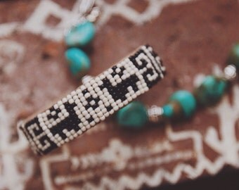 BC-09, handmade Native American inspired adjustable beaded  cuff bracelet