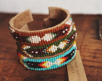BC-12, handmade Native American inspired adjustable beaded  cuff bracelet