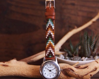 BLW-04,Native American inspired hand-beaded genuine leather watch