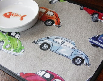 Repurposed Pet Placemat from a Shopping Bag - Small Size - Car