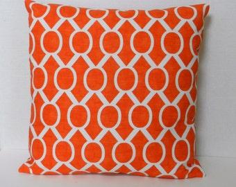Orange Geometric Throw Pillow Cover, Tangerine and White, Premier Prints Sydney Tangelo, 18 x 18 inch with zipper closure, Bedroom, Sofa