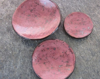 3 Plum Purple and Black Stacking Nesting Trinket Bowls