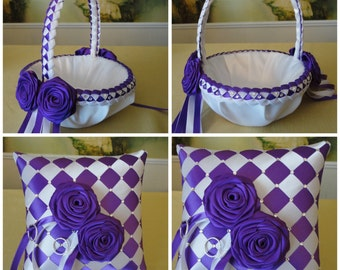 Ring Bearer Pillow & Flower Girl Basket Set, White, Purple or Custom Made to your Colors with Swarovski Crystals and Satin Flowers