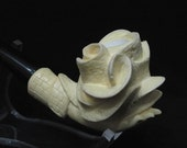 Rose in Lady Hand Smoking Meerschaum Pipes Hand carved Yellow  Turkish pipe 6229