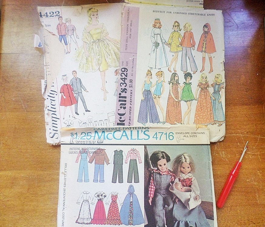 3 vintage doll clothes patterns