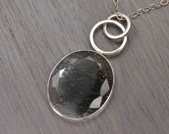 Green Rutilated Quartz Necklace, oval silver 30ct - Parker Pendant