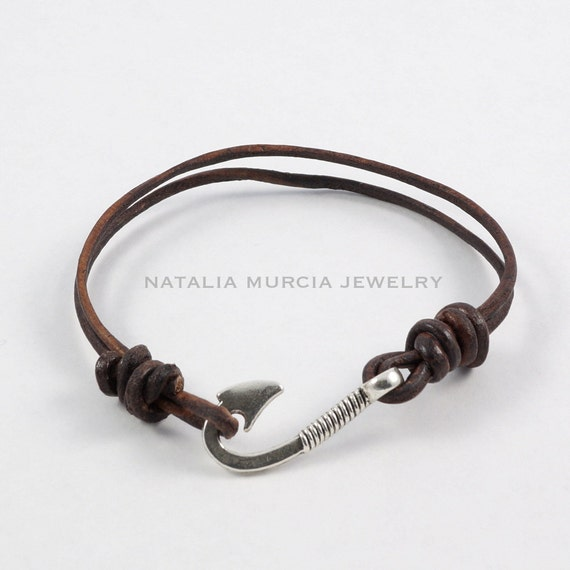 fish hook leather bracelet double strand by