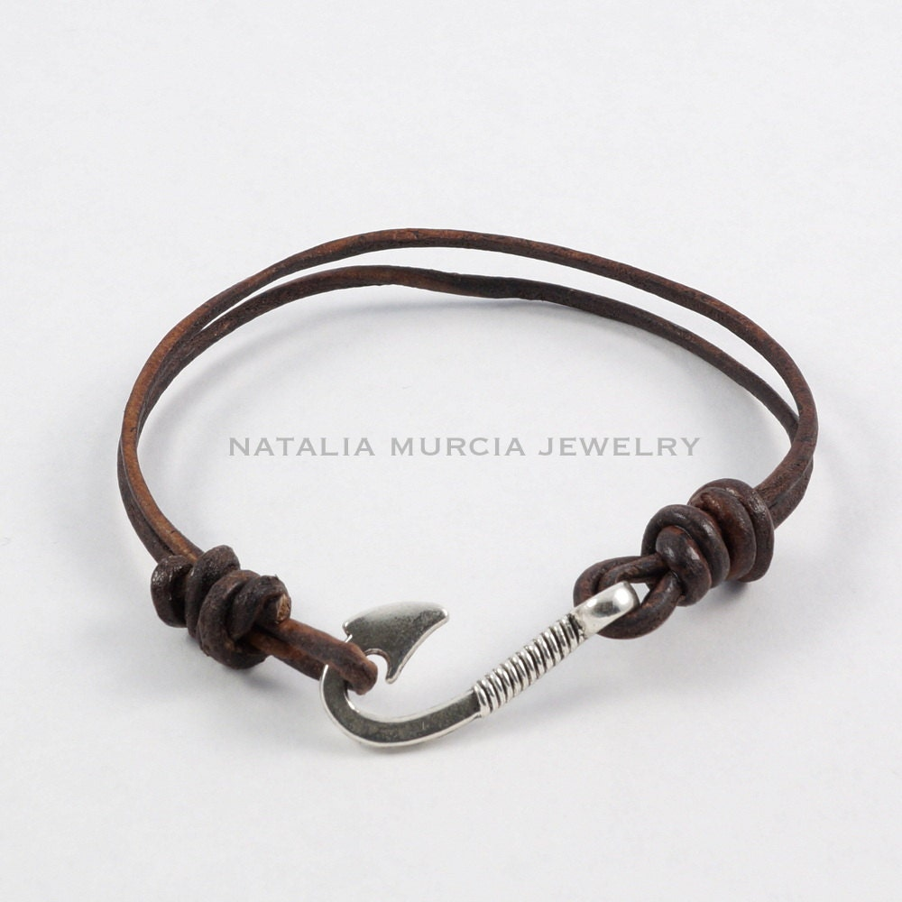Fish hook leather bracelet double strand by for Leather fish hook bracelet