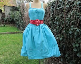 Cotton Dress Vintage / Size EUR42 / UK14 / Blue / With Pockets / Open Back / Summer Dress