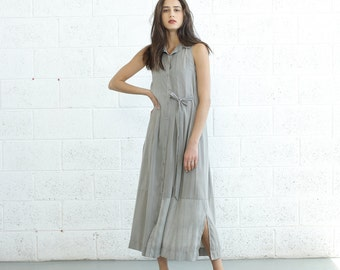 SALE! Pleated Maxi Dress With Tie front, Light Grey