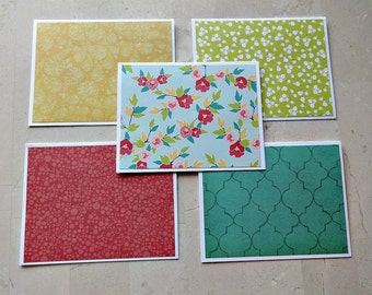 Blank Note Cards, Note Card Set, Set of 5 Blank Note Cards with Matching Envelopes, Thank You Note Cards, Note Card Set, Floral Note Cards