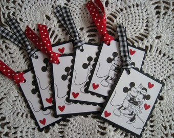 Mickey and Minnie Mouse Tags Set of Six