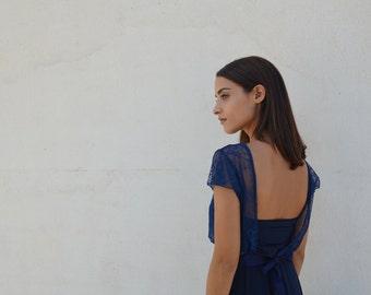 Blue evening knee length dress, lace top ,full circle skirt