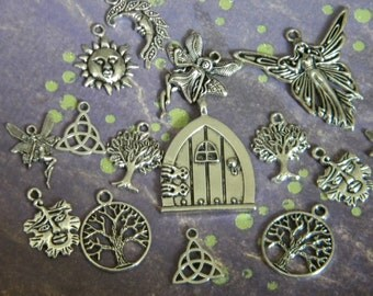 15 pc. Mix FAIRY Forest Charm Lot MOON Tree PAGAN Druid Magic Wiccan Dark Woods Magic Silver finish  d.i.y.  Wine Charms Jewelry Making