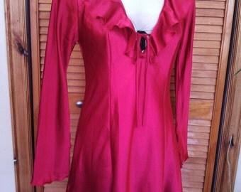 Red Ruffle Sleep Shirt / Fredericks of Hollywood