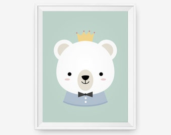 Bear animal nursery wall art, Nursery Art Print, New Baby, Gift for baby, Children room decor