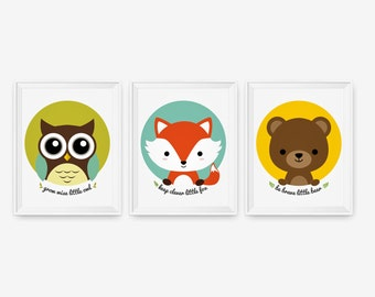 Keep clever little fox, Be brave little bear, Woodland animal nursery decor, Children decor animal for kids rooms Art Prints Set of 3