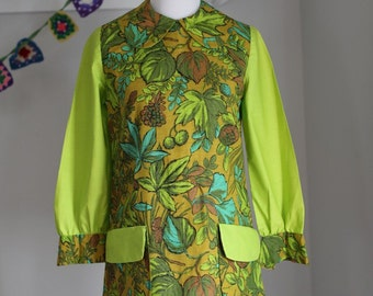 Vintage MOD Women's dress 1960's Green with Flowers