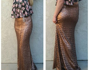 S/M left Bronze Maxi Sequin Skirt - Stretchy, gorgeous high quality sequins- Long sequined skirt s,m,l,xl