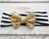 Gold sequin bow, Gold sparkle bow, top knot bow, baby head wrap, gold messy bow, black and gold headband, sparkle bow headband, glitter bow