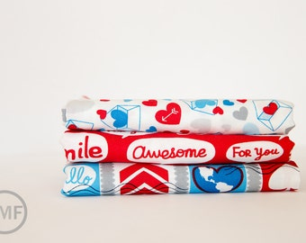 Airmail Mini Fat Quarter Bundle, 3 Pieces, Eric and Julie Comstock, Moda Fabrics, 100% Cotton Fabric