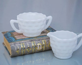 Vintage White Milk Glass Cream and Sugar Set