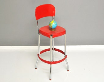 Mid-Century Bright Red Metal Kitchen Stool