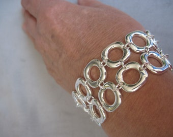 "Silver High Polish Two Row Smooth Square 8"" Sterling Silver Bracelet"