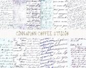 Antique Script, Retro Letters Digital Papers, Retro Handwriting Papers, Vintage Handwriting Digital Papers - set of 12