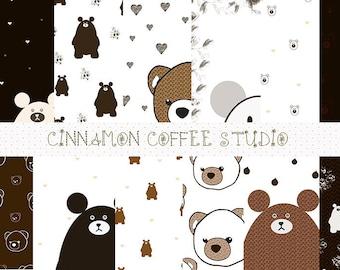 teddy bear digital papers, cute teddy bears backgrounds, brown bears pattern, teddy bears digital sheets - set of 12