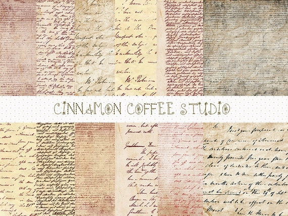 Antique Letters Digital Papers, Retro Handwriting Papers, Vintage Letters Digital Papers - set of 14