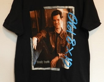 vintage Randy Travis T Shirt 80s concert Old 8 x 10 tour thin tee colorful 50/50 '89 country music XL