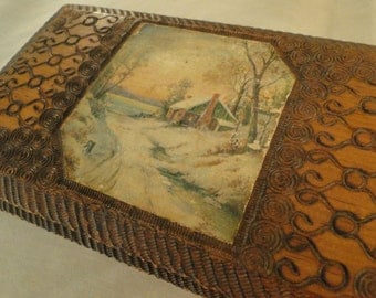 Carved Wood Box with winter scene inlay, MANS jewelry