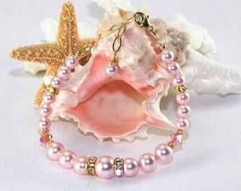 Rosaline Pink Pearl Bracelet Bridesmaid Bracelet Wedding Jewelry Bridal Jewelry Pearl Bracelet Crystal Bracelet Bridesmaid Gift