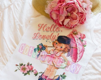 Hello Lovely tank tee shirt one piece body suit tshirt Vintage inspired childrens tshirt