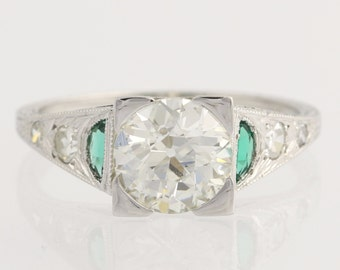 Art Deco Engagement Ring Diamond & Syn Emerald - 18k White Gold GIA Cert 1.57ctw Unique Engagement Ring L1578 R