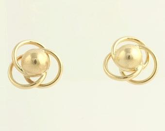 Gold Stud Earrings - 14k Yellow Gold Interlocking Circles Fine Estate Pierced L1753