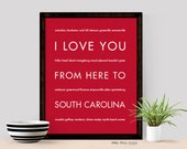 South Carolina Art Print, I Love You From Here To SOUTH CAROLINA, Shown in Scarlet Red - Choose Color Canvas Frame