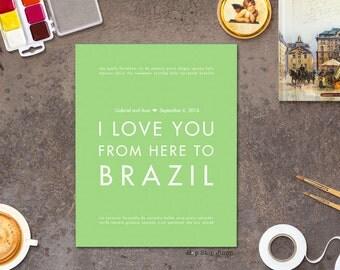 Brazil Brasil Wedding Gift, Custom Poster for Bride Groom, Latin American Heritage
